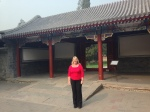 Fiona Harvey outside the entrance to the Tsinghua Presidents offices